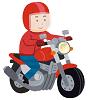 バイク・オートバイに乗った男性のイラスト(極小)