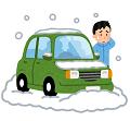雪で立ち往生した車のイラスト(男性)極小